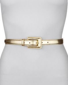 Covered Buckle Mirror Belt, Gold by Neiman Marcus at Neiman Marcus.