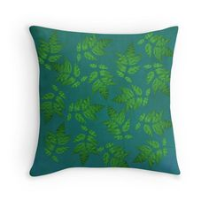 White Ash Leaf Pop Art Pillow Cover Green by KEnzPhotography