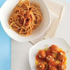 Recipe for Bucatini (Saucy's favorite type of pasta) With Tomato Sauce And Meatballs : La Cucina Italiana