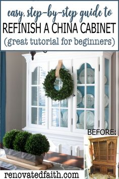 Get the look of a modern farmhouse china cabinet with this easy, quick and CHEAP DIY tutorial with 5 steps to update an old hutch. Check out my antique refurbished china hutch makeover with before and china cabinet display ideas. It also entails how to remove fretwork from a china cabinet and other uses for china cabinets including how to update old hutch hardware. Can use the same paint technique for a built in or open shelving. Glazing Furniture, Chalk Paint Furniture, Diy Furniture Projects, Repurposed Furniture, Furniture Makeover, Furniture Refinishing, Diy Projects, Laminate Furniture, Refurbished Furniture