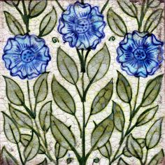 themonkeyisyourfriend:    Vertical Stemmed Floral Tile 1872-1881 (by De Morgan Centre)