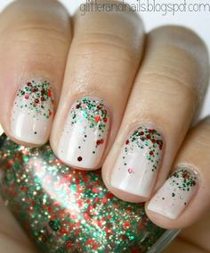 Make a nude mani holiday-ready by adding red, green, and gold glitter. #holiday #christmas #nail #art #design