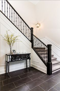 Family Home with Stylish Transitional Interiors...love the railing
