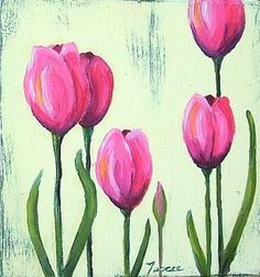 Pink tulips Tulip Painting, Flower Painting Canvas, Simple Acrylic Paintings, Garden Painting, Flower Canvas, Diy Painting, Painting & Drawing, Flower Art, Kids Canvas Art