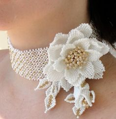 Beaded bridal collar necklace / brooch with pearls by Gemsplusleather, $99.00