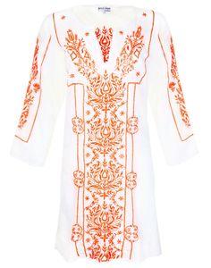 d4f0094b5bc475 Juliet Dunn Cotton Kaftan with Victorian Embroidery - White Orange