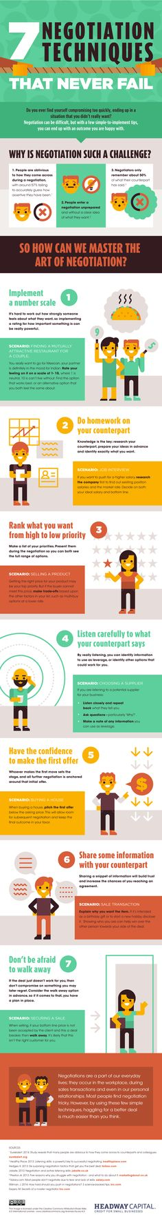 7 Negotiation Techniques That Never Fail #Infographic #Business #Marketing