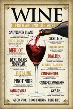 """Empire - Poster vintage """"Wine Around The World"""" [Importato da Regno Unito][: Amazon.it: Casa e cucina"""