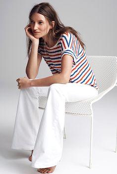 white jeans + summer stripes
