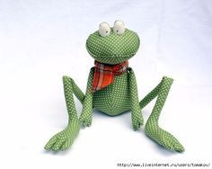 Handmade, stuffed frog toy wearing an orange scarf. You can kiss him to win the Prince's love. He is 10 inches cm) when sitting and 23 inches cm) overall. Sewing Toys, Sewing Crafts, Sewing Projects, Funny Frogs, Cute Frogs, Tilda Toy, Frog Crafts, Animal Sewing Patterns, Soft Dolls