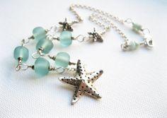 Starfish Necklace - Seaglass Artisan Lampwork Beads - Fair Trade Karen Hill Tribe Fine Silver & Sterling Silver - UK Seller - Contemporary