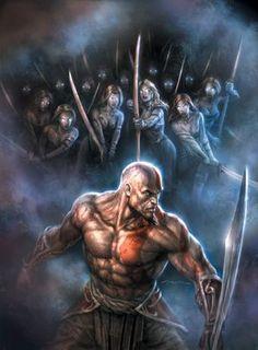 God of War by Andy Park Kratos God Of War, Gods Of War, Geeks, Greek Mythological Creatures, Andy Park, Comic Art Community, Fan Art, Dark Fantasy Art, Greek Gods
