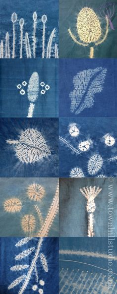 The many beautiful patterns created with different methods of shibori stitch resist with indigo dye all by Townhill Studio. Inspired by the natural world a great variety of designs are shown: teasels, grasses, plantain, leaves berries and landscape, so much is possible!