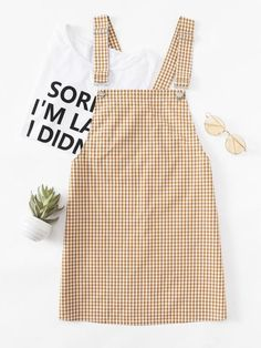 Online shopping for Gingham Pinafore Dress from a great selection of women's fashion clothing & more at MakeMeChic. Dress Outfits, Casual Outfits, Cute Outfits, Fashion Outfits, Womens Fashion, Dress Fashion, Fashion Fashion, Emo Outfits, Fashion Black