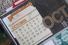 mini calendar + chipboard letters + mini letters for main date insert.  #jennihufford