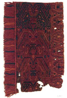 Embroidered Border Fragment Date: 5th–2nd century BCE Geography: Peru Culture: Paracas Medium: Camelid hair, cotton