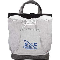 Your logo on these cute sweatshirt totes! www.goodlifeimprinting.com