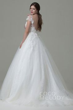 Perfect A-line Illusion Natural Court Train Tulle and Lace Cap Sleeve Open Back Wedding Dress with Appliques Flower and Sashes #LWAT14014 #cocomelody #weddingdress