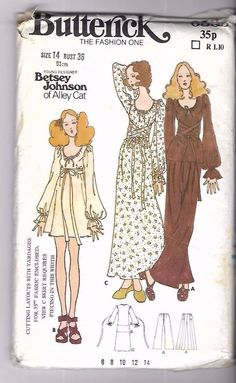 Vintage 1970s Sewing Pattern Designer Betsy Johnson Alley Cat Dress Tunic Pants | eBay