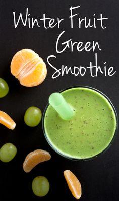 Winter Fruit Green Smoothie   realfoodandicecream.com