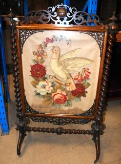Early To Mid Victorian Rosewood Fire Screen With Berlin Work Cloth Panel - Victorian Interiors, Victorian Furniture, Victorian Decor, My Furniture, Victorian Homes, Victorian Era, Antique Furniture, Victorian Fireplace Screens, Perth
