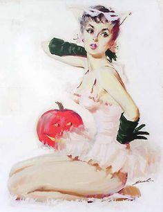 Pin-up w/Pumpkin, art by Mauro Scali Halloween Pin Up, Pretty Halloween, Halloween Signs, Vintage Halloween, Halloween Season, Holidays Halloween, Halloween Ideas, Happy Halloween, Pin Up Girl Vintage