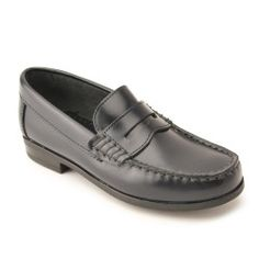 Penny 2 - Navy Blue High Shine Leather - slip-on boys school shoes that are durable and stylish