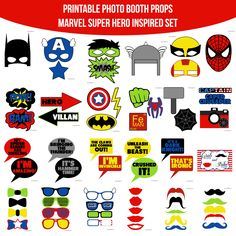 This Set includes Zipped Multi-page PDF Files All files links will be emailed after payment is received. Links expire in 24 hours.  ♥ This set of Photobooth props has 25 pages and includes: 4 Bowties 8 Glasses 6 Masks 1 Helmet 1 Hammer 1 Shield 1 Lightning 1 Bat Signal 1 Spider 1 Fist