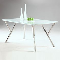 Jade White Glass Top Dining Table by Chintaly Imports