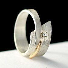 Gold, Silver & Stone Wedding Band by Dagmara Costello
