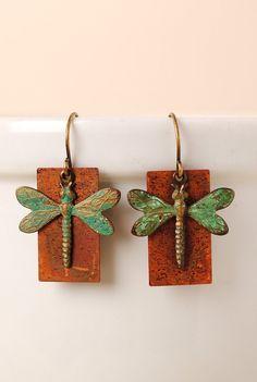 Rustic Creek Dragonfly Copper Earrings