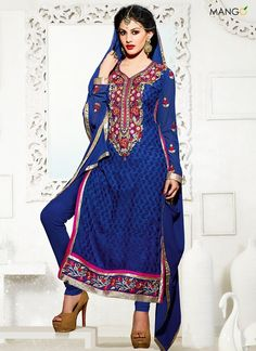 CHARMING BLUE BRASSO GEORGETTE CHURIDAR SUIT  CODE:-7836 PRICE:-2855/-