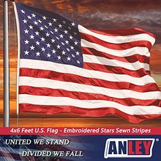 ANLEY  American US Flag 4x6 Foot Nylon - Embroidered Stars and Sewn Stripes - 4 Rows of Lock Stitching - USA Banner Flags with Brass Grommets 4 X 6 Ft