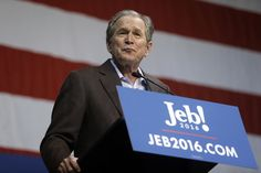 Former President George W. Bush campaigned for his brother Republican presidential candidate, former Florida Gov. Jeb Bush Monday, during the primary, and has taken what many think were subtle digs at Trump. (AP Photo/Matt Rourke) via @AOL_Lifestyle Read more: http://www.aol.com/article/news/2016/10/07/gop-leaders-slam-trump-over-crude-remarks-on-women/21577135/?a_dgi=aolshare_pinterest#fullscreen