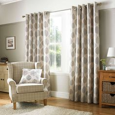 Decorated with a bold leaf design in shades of grey against a natural backdrop, this pair of fully lined curtains will reduce unwanted draughts entering, complete with an eyelet header to provide ease when installing with multiple sizes available. Indoor Blinds, Patio Blinds, Diy Blinds, Bamboo Blinds, Fabric Blinds, Curtains With Blinds, Bedroom Curtains, Hanging Curtains, Curtains On Patio Doors