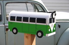 Hunter Green Volkswagen Bus Mailbox