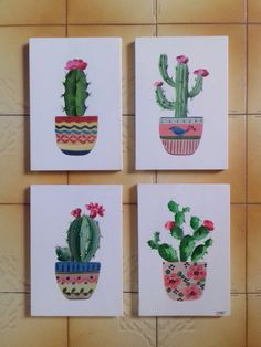 Small Canvas Paintings, Small Canvas Art, Easy Canvas Painting, Mini Canvas Art, Diy Painting, Cactus Drawing, Cactus Painting, Cactus Art, Garden Cactus
