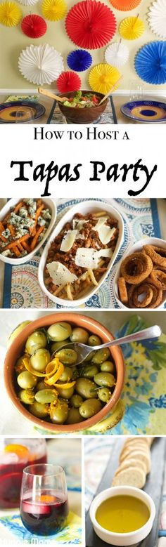 Try some of these quick and easy ideas for how to host a tapas party in your home. Ideas include recipes, decorations, serving dishes, and more! Spanish Themed Party, Spanish Party, Spanish Wedding, Paella Party, Tapas Party, Tapas Recipes, Cooking Recipes, Tapas Ideas, Cooking Food
