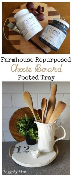 Using Fusion Mineral Paint Casement and Ash Farmhouse make a Repurposed Cheese Board Footed Tray to add some Farmhouse Charm to your home | Full Tutorial | www.raggedy-bits.com
