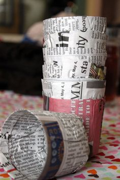 biodegradable newpaper cups to start seedlings in!