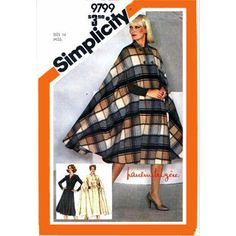 Vintage Pauline Trigere Sewing Pattern  Simplicity 9799 Cape Dress Bust 36 Size Large