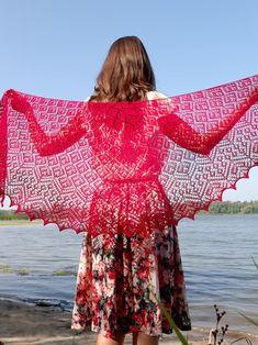 Magenta shawl for wedding dresses bridal cover up lace | Etsy Lace Knitting, Crochet Shawl, Bridal Cover Up, Wedding Shawl, Holidays And Events, Wedding Accessories, Magenta, Summer Wedding, Bridal Dresses