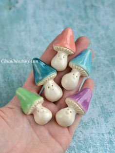 Ceramic mushroom pin brooch white clay
