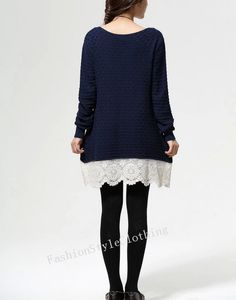 Navy blue cotton sweater knit loose by FashionStyleClothing