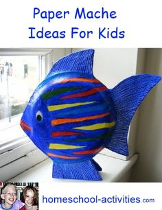 Easy paper mache fish ornaments using paper plates. Fun to make for both adults and kids! More ideas and activities from one of the very few second generation homeschooling families. www.homeschool-activities.com/paper-mache-ideas.html