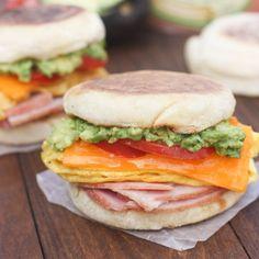 Cheesy Egg, Avocado and Ham Breakfast Sandwiches