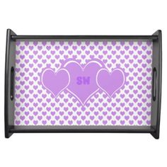 Pretty Monogram Baby Pink Hearts Pattern Serving Tray - home gifts ideas decor special unique custom individual customized individualized