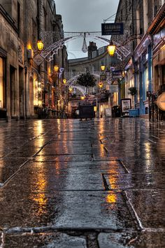 Rainy Streets of Cambridge, England