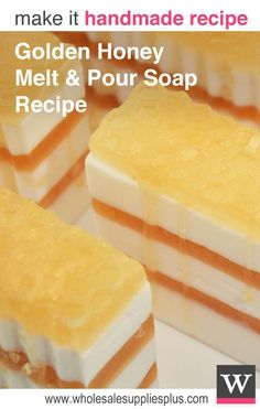 "DIY Golden Honey Melt & Pour Soap Loaf Recipe. You'll love the warm aroma of sweet honey and almonds in this handmade glycerin soap. Complete with an intricate honeycomb design on top and ""honey"" dripping down the sides. This soap looks complicated to make but is actually very easy to create. It's like a dream to wash with too!"