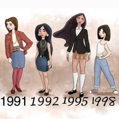Disney princesses dressed in the yrs they came from!!!